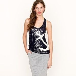 J Crew Sequin Anchor Tank